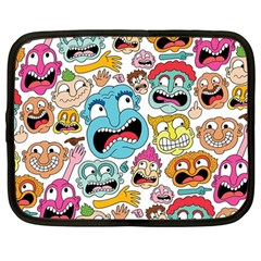 Weird Faces Pattern Netbook Case (large)