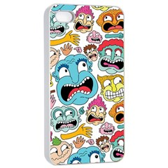 Weird Faces Pattern Apple Iphone 4/4s Seamless Case (white)