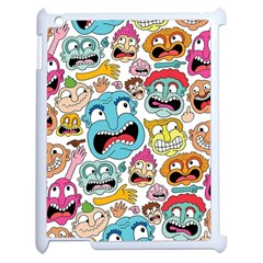 Weird Faces Pattern Apple Ipad 2 Case (white)