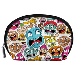Weird Faces Pattern Accessory Pouches (large)
