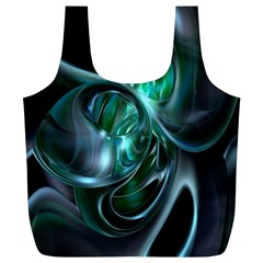 Ws Blue Green Float Full Print Recycle Bags (l)  by AnjaniArt