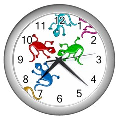 Colorful Lizards Wall Clocks (silver)  by Valentinaart