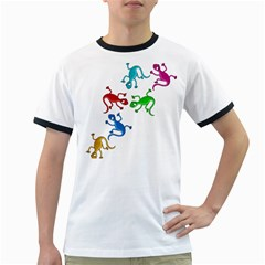 Colorful Lizards Ringer T Shirts by Valentinaart