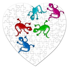 Colorful Lizards Jigsaw Puzzle (heart) by Valentinaart