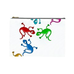 Colorful Lizards Cosmetic Bag (large)  by Valentinaart