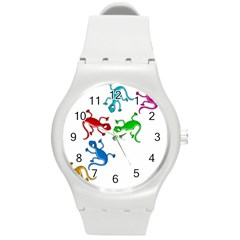 Colorful Lizards Round Plastic Sport Watch (m) by Valentinaart