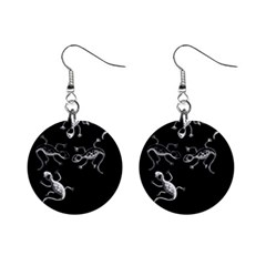 Black And White Lizards Mini Button Earrings by Valentinaart