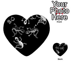 Black And White Lizards Playing Cards 54 (heart)  by Valentinaart