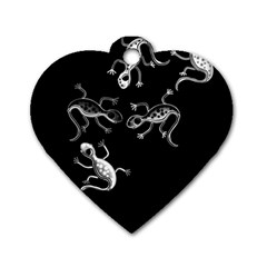Black And White Lizards Dog Tag Heart (one Side)