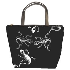Black And White Lizards Bucket Bags by Valentinaart
