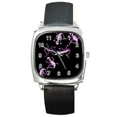 Purple Lizards Square Metal Watch by Valentinaart