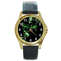 Green Lizards Round Gold Metal Watch by Valentinaart