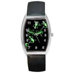 Green Lizards Barrel Style Metal Watch by Valentinaart