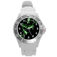 Green Lizards Round Plastic Sport Watch (l) by Valentinaart