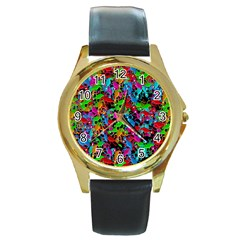 Lizard Pattern Round Gold Metal Watch by Valentinaart