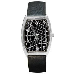 Black And White Warped Lines Barrel Style Metal Watch by Valentinaart