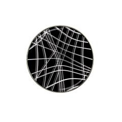 Black And White Warped Lines Hat Clip Ball Marker by Valentinaart