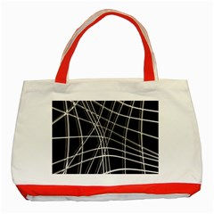 Black And White Warped Lines Classic Tote Bag (red) by Valentinaart