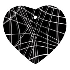 Black And White Warped Lines Heart Ornament (2 Sides) by Valentinaart