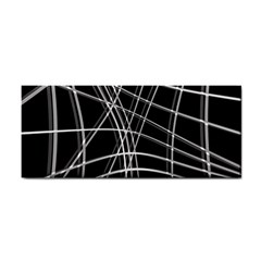 Black And White Warped Lines Hand Towel by Valentinaart
