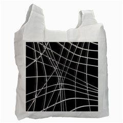 Black And White Warped Lines Recycle Bag (one Side) by Valentinaart