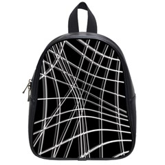 Black And White Warped Lines School Bags (small)  by Valentinaart