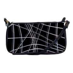 Black And White Warped Lines Shoulder Clutch Bags by Valentinaart