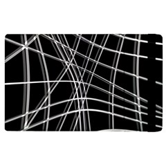 Black And White Warped Lines Apple Ipad 2 Flip Case by Valentinaart
