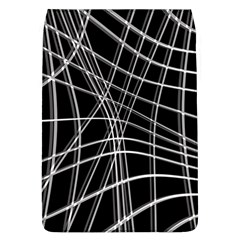 Black And White Warped Lines Flap Covers (l)  by Valentinaart