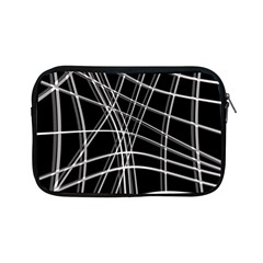 Black And White Warped Lines Apple Ipad Mini Zipper Cases by Valentinaart