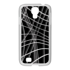Black And White Warped Lines Samsung Galaxy S4 I9500/ I9505 Case (white) by Valentinaart