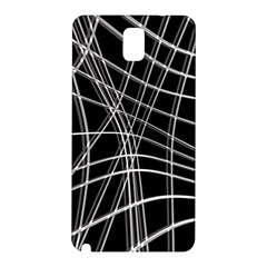 Black And White Warped Lines Samsung Galaxy Note 3 N9005 Hardshell Back Case by Valentinaart