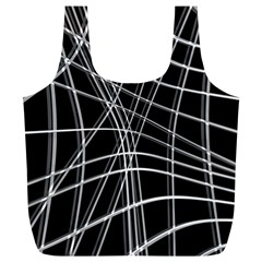Black And White Warped Lines Full Print Recycle Bags (l)  by Valentinaart