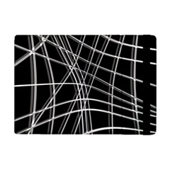 Black And White Warped Lines Ipad Mini 2 Flip Cases by Valentinaart