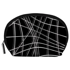 Black And White Warped Lines Accessory Pouches (large)  by Valentinaart