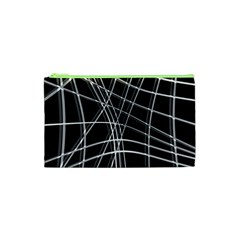 Black And White Warped Lines Cosmetic Bag (xs) by Valentinaart
