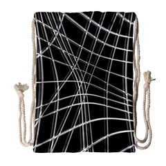 Black And White Warped Lines Drawstring Bag (large) by Valentinaart