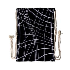 Black And White Warped Lines Drawstring Bag (small) by Valentinaart