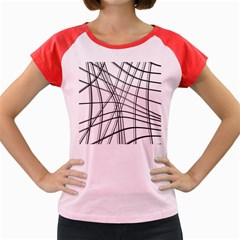 White And Black Warped Lines Women s Cap Sleeve T Shirt by Valentinaart