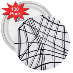 White And Black Warped Lines 3  Buttons (100 Pack)  by Valentinaart