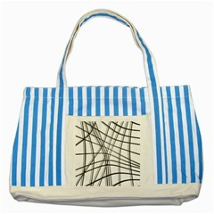 White And Black Warped Lines Striped Blue Tote Bag by Valentinaart