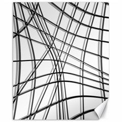 White And Black Warped Lines Canvas 16  X 20   by Valentinaart