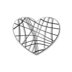 White And Black Warped Lines Rubber Coaster (heart)  by Valentinaart