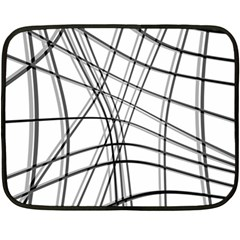 White And Black Warped Lines Double Sided Fleece Blanket (mini)  by Valentinaart