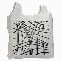 White And Black Warped Lines Recycle Bag (two Side)  by Valentinaart