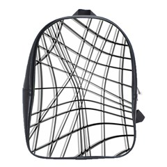 White And Black Warped Lines School Bags(large)  by Valentinaart