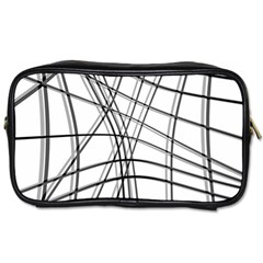 White And Black Warped Lines Toiletries Bags 2 Side