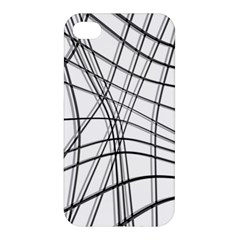 White And Black Warped Lines Apple Iphone 4/4s Premium Hardshell Case by Valentinaart