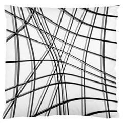 White And Black Warped Lines Large Cushion Case (two Sides) by Valentinaart