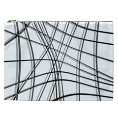 White And Black Warped Lines Cosmetic Bag (xxl)  by Valentinaart
